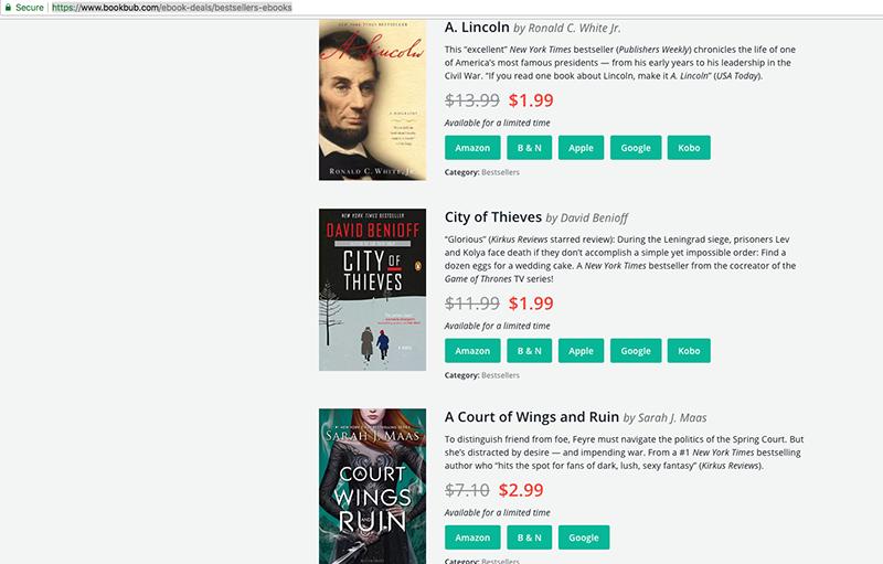 discounts on eBooks for download BookBub