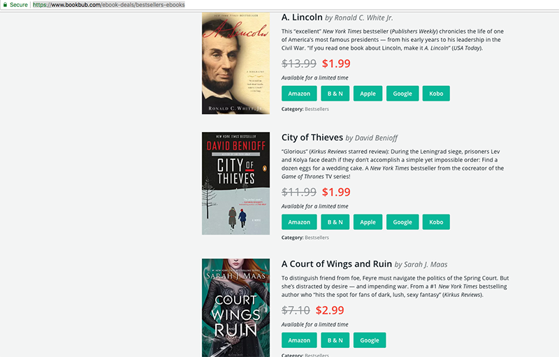 discounts on eBooks for download BookBub