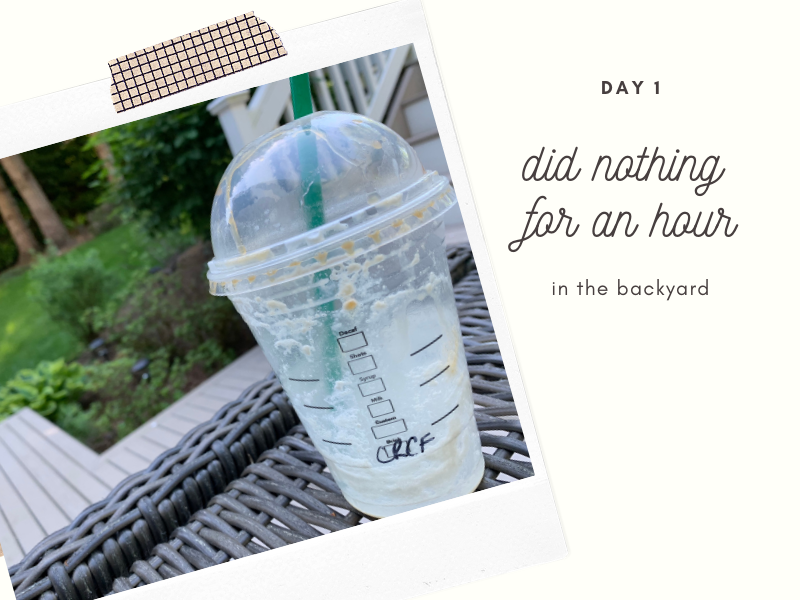 declutter my digital life - challenge 1 cutting back social media - sit in my backyard and do nothing